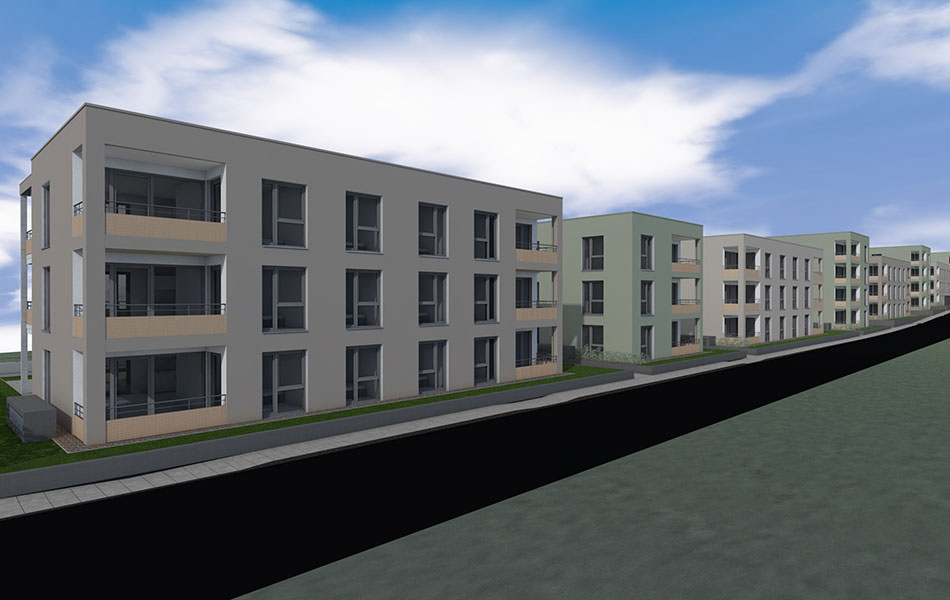 New housing estate with underground car park in Ulm