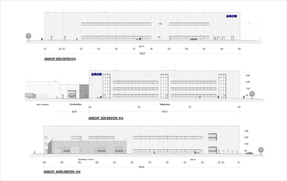 New construction of hall 14 of the GROB company
